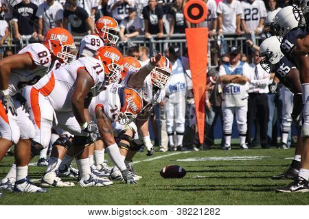 linois offensive linemen ready to snap the football