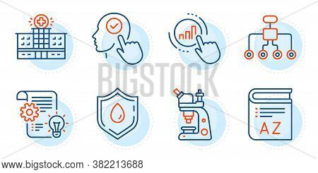 Microscope, Hospital Building And Select User Signs. Graph Chart, Blood Donation And Vocabulary Line