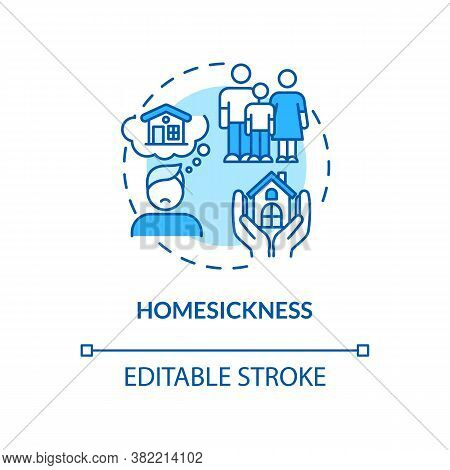 Homesickness Turquoise Concept Icon. Anxiety From Separation. Depression From Long Distance. College
