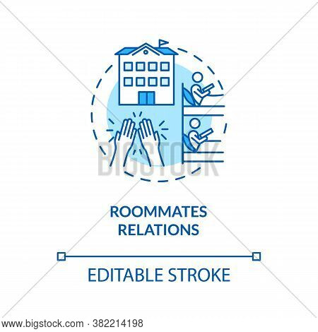 Roommates Relations Turquoise Concept Icon. Dormitory Partner. Mate For Room Rental In University. C