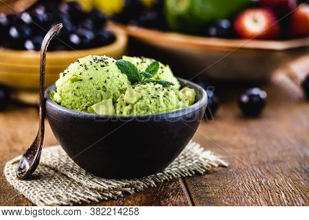 Organic And Natural Avocado Ice Cream, Without Preservatives, With Tropical Fruits From Brazil In Th