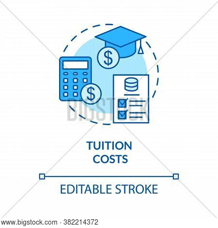 Tuition Costs Turquoise Concept Icon. Scholarship For Student. Studying Fee. Loan For University. Co