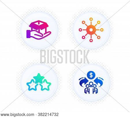 Multichannel, Hold Box And Ranking Stars Icons Simple Set. Button With Halftone Dots. Sharing Econom