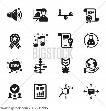 Set Of Education Icons, Such As Musical Note, Idea. Certificate, Approved Group, Save Planet. Chemis