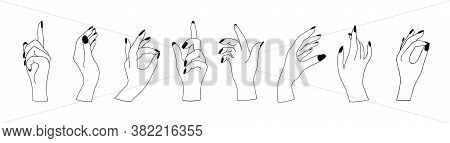 Set Of Woman Hands In Various Gestures Isolated On White Background. Witchcraft Esoteric Magical Mys