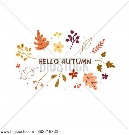 Hello Autumn Mood Greeting Card With Yellow Orange Leaves. Welcome Fall Season Thanksgiving Invitati