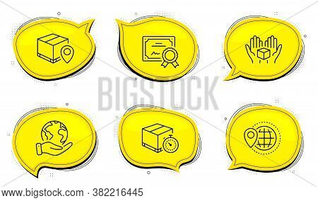 World Travel Sign. Diploma Certificate, Save Planet Chat Bubbles. Hold Box, Delivery Timer And Parce