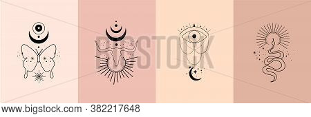 Set Of Alchemy Esoteric Mystical Magic Celestial Talisman With Skull Of Bull, Snake, Butterfly, Sun,