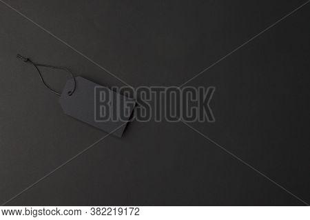 Black Price Tag On Black Background. Black Friday Concept, Luxury Stylish Flyer, Voucher Discount Ca