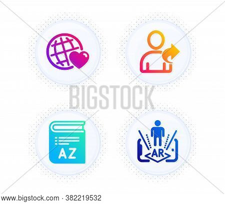 Vocabulary, Friends World And Refer Friend Icons Simple Set. Button With Halftone Dots. Augmented Re
