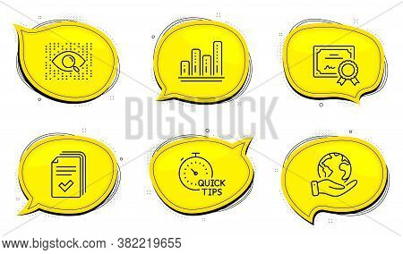Artificial Intelligence Sign. Diploma Certificate, Save Planet Chat Bubbles. Graph Chart, Handout An