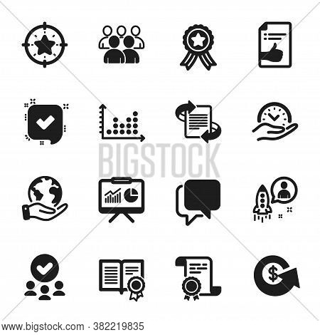 Set Of Education Icons, Such As Confirmed, Safe Time. Certificate, Approved Group, Save Planet. Star