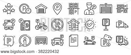 Car Garage, Valet Servant And Paid Transport Parking Icons. Parking Line Icons. Video Monitoring, Bi