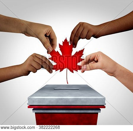 Canadian Election With Diverse Hands Casting A Canada Vote For Federal Elections For A Prime Ministe