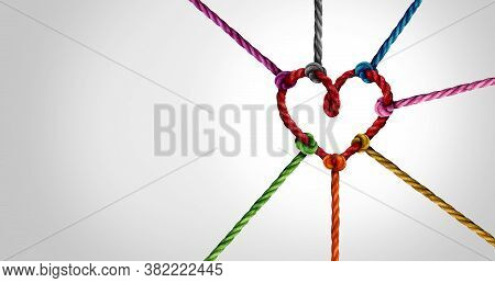 Together And Unity Or Love Partnership And Concept Of Team And Teamwork Idea As A Metaphor For Joini