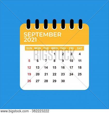 September 2021 Calendar. Calendar September 2021. September 2021 Calendar Vector Illustration. Wall