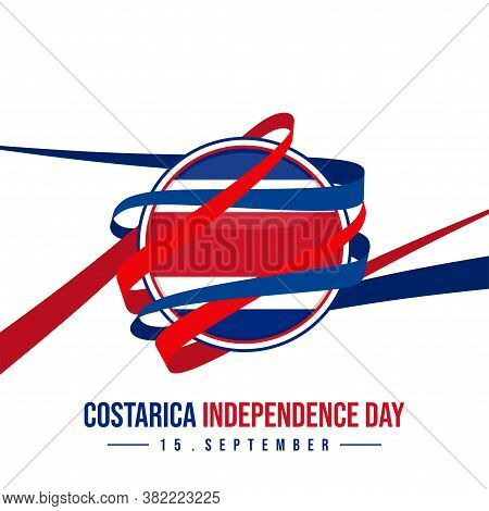 Ribbon Around The Costa Rica Round Flag. Good Template For Costa Rica Independence Day Design.