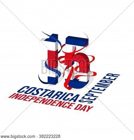 Typography Of 15 Number For Costa Rica Independence Day When Celebrate On 15 September.