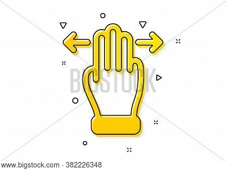 Slide Arrow Sign. Multitasking Gesture Icon. Swipe Action Symbol. Yellow Circles Pattern. Classic Mu