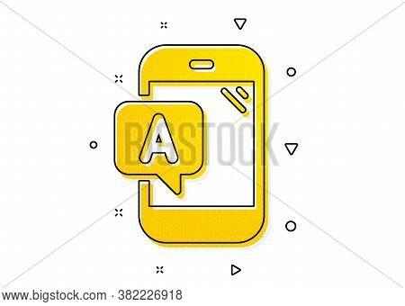 Ui Phone Test Sign. Ab Testing Icon. Yellow Circles Pattern. Classic Ab Testing Icon. Geometric Elem