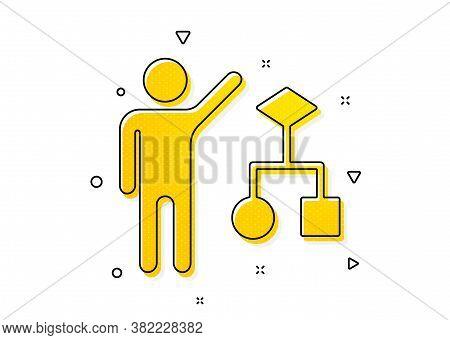 Business Management Sign. Algorithm Icon. Development Symbol. Yellow Circles Pattern. Classic Algori
