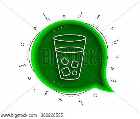 Ice Tea Line Icon. Chat Bubble With Shadow. Soda Drink Sign. Fresh Cold Beverage Symbol. Thin Line I