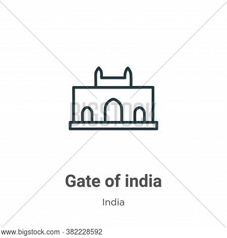 Gate of india icon isolated on white background from india collection. Gate of india icon trendy and