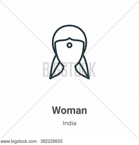 Woman icon isolated on white background from india collection. Woman icon trendy and modern Woman sy