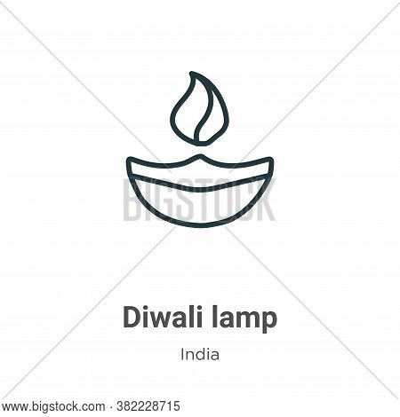 Diwali lamp icon isolated on white background from india collection. Diwali lamp icon trendy and mod