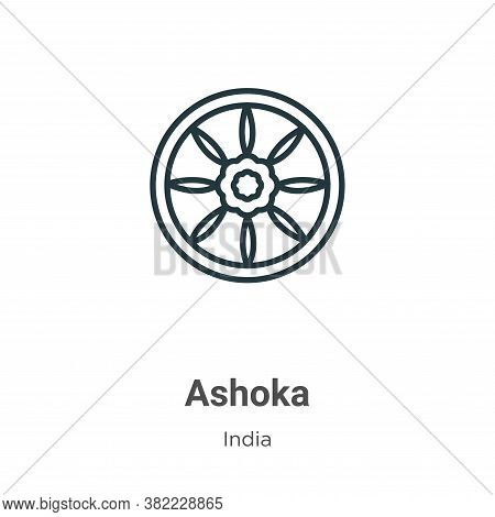 Ashoka icon isolated on white background from india collection. Ashoka icon trendy and modern Ashoka