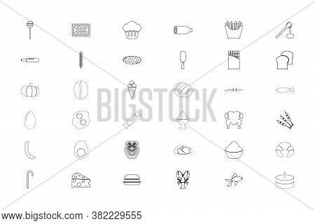 Food Gastronomy Groceries Black Color Set Outline Style Vector Illustration