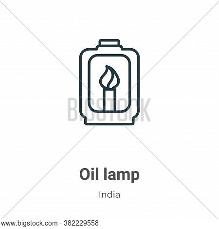 Oil lamp icon isolated on white background from india collection. Oil lamp icon trendy and modern Oi