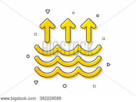 Global Warming Sign. Evaporation Icon. Waves Symbol. Yellow Circles Pattern. Classic Evaporation Ico