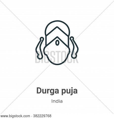 Durga puja icon isolated on white background from india collection. Durga puja icon trendy and moder