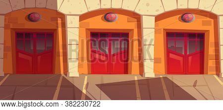 Fire Station Garage Doors With Signaling, Gates Box For Truck. Municipal Emergency Department Hangar