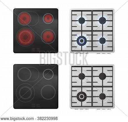 Gas And Electric Stove Top View, Turn On And Off Ovens With Blue Flame And Red Hot Ceramics Surface.