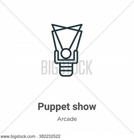 Puppet show icon isolated on white background from entertainment collection. Puppet show icon trendy