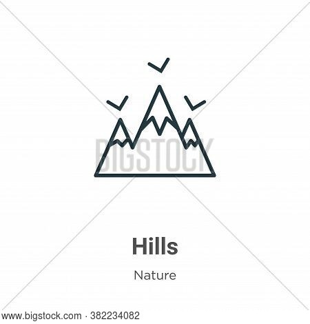 Hills icon isolated on white background from nature collection. Hills icon trendy and modern Hills s