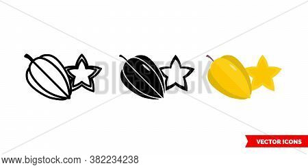 Carambola Icon Of 3 Types Color, Black And White, Outline. Isolated Vector Sign Symbol.