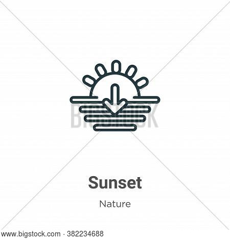 Sunset icon isolated on white background from nature collection. Sunset icon trendy and modern Sunse