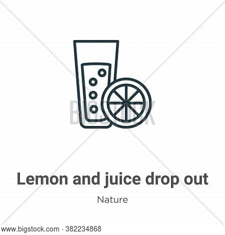 Lemon and juice drop out icon isolated on white background from nature collection. Lemon and juice d