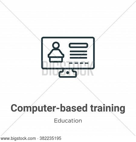 Computer-based training icon isolated on white background from education collection. Computer-based