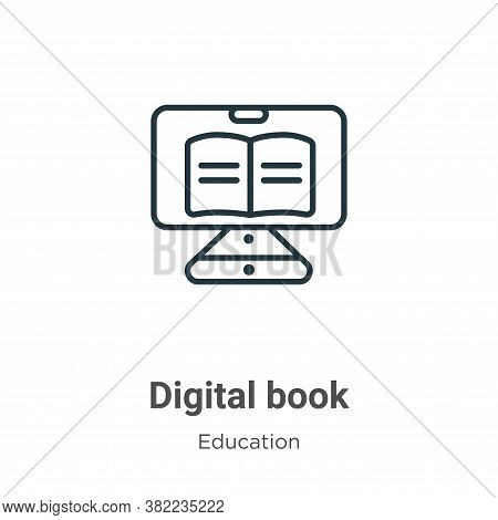 Digital book icon isolated on white background from online learning collection. Digital book icon tr