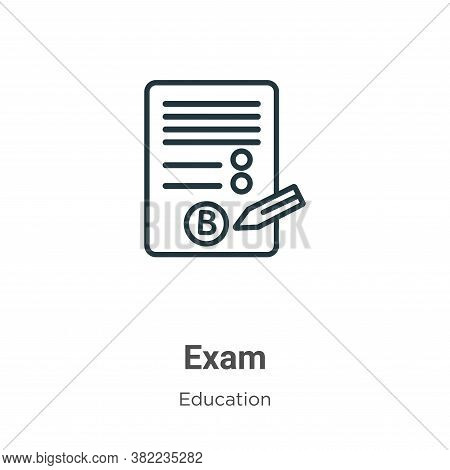 Exam icon isolated on white background from education collection. Exam icon trendy and modern Exam s