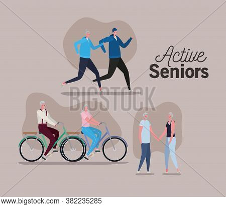 Set Of Active Seniors Woman And Man Cartoons With Bikes On Brown Background Design, Activity Theme V