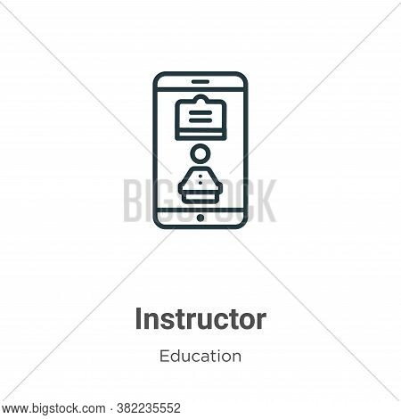 Instructor icon isolated on white background from online learning collection. Instructor icon trendy