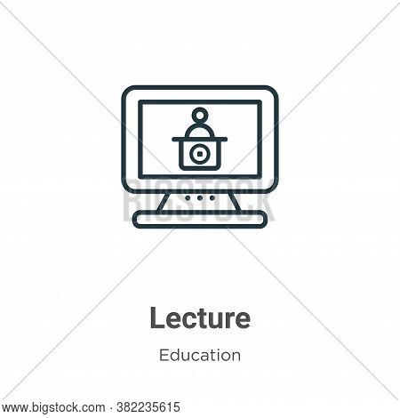 Lecture icon isolated on white background from online learning collection. Lecture icon trendy and m