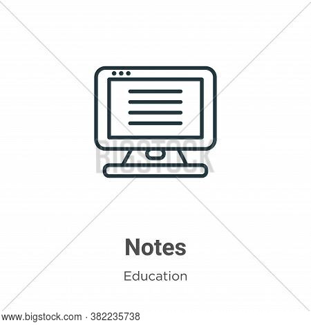 Notes icon isolated on white background from online learning collection. Notes icon trendy and moder