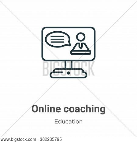 Online coaching icon isolated on white background from education collection. Online coaching icon tr