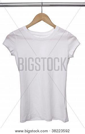 White T Shirt On Cloth Hangers